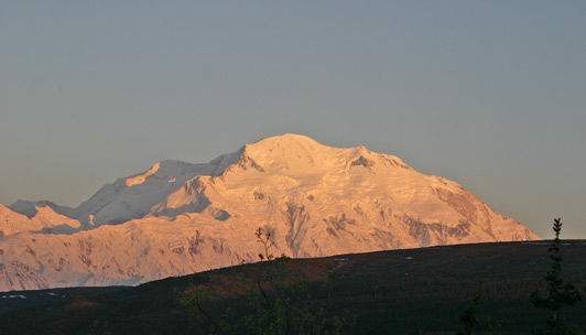 USA National Parks - Denali bathed in alpenglow.