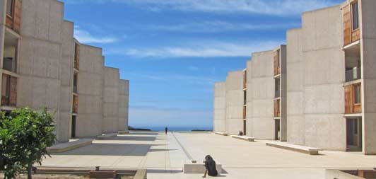 The Salk Institute in La Jolla was designed by architect Louis Kahn and named after Dr. Jonas Salk.