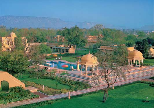 The Oberoi Rajvilas is located in a park-like setting.