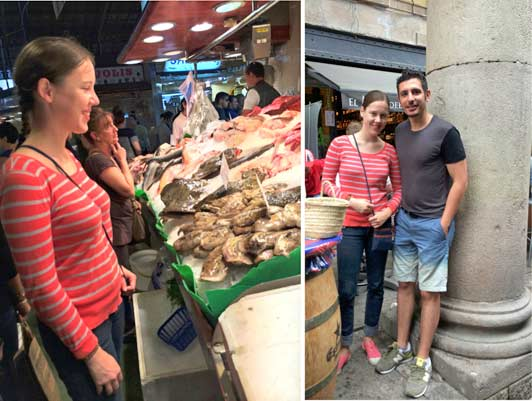 Spain - Best Local Private Guides: Capacine from France with local guide Quim in La Boqueria Market, Barcelona.