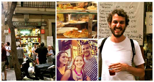 Spain - Best Local Private Guides: Lucas, Kristen, and Peter try Catalan Vermouth on their tapas tour.