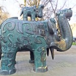 Portland - These full-size bronze reproductions of Shang Dynasty elephants live in the  North Park Blocks area of the city.