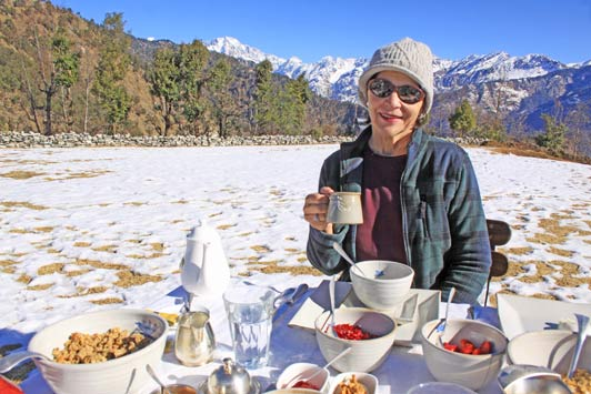 Authentic luxury travel is breakfast in the foothills of the Himalayas.