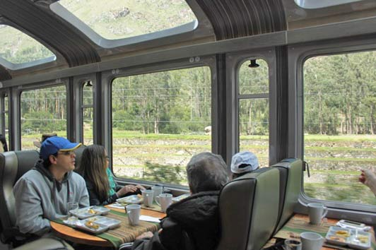 The Vista Dome train travels back and forth between Ollantaytambo and Aguas Calientes, the gateway to Machu Picchu.