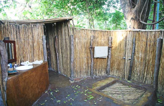 Bathrooms at Sindabezi offer modern conveniences in an au naturel setting.