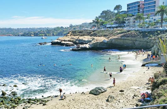 La Jolla Cove, in San Diego's favorite community, is a wonderful spoy to swim.