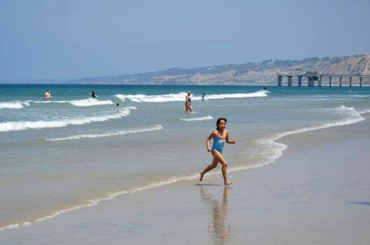 La Jolla Shores Beach is a safe swim spot for families and a great place to play in the sand.