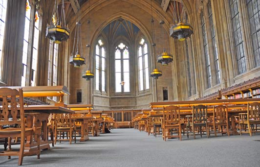 This is the Reading Room in the Suzzallo Library at the University of Washington.