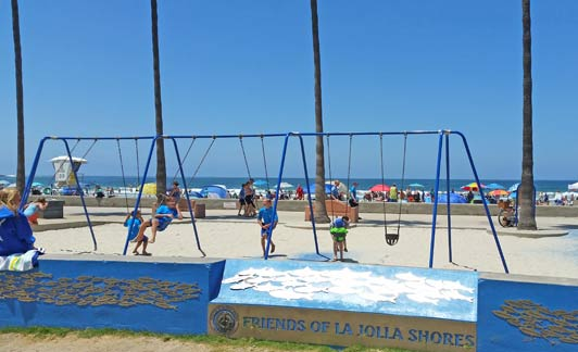 At La Jolla Shores Beach, a popular playground is just steps from the sand.