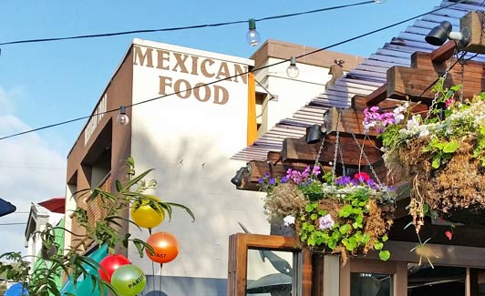 El Charro serves Mexican fast food a couple of blocks from La Jolla Shores Beach.
