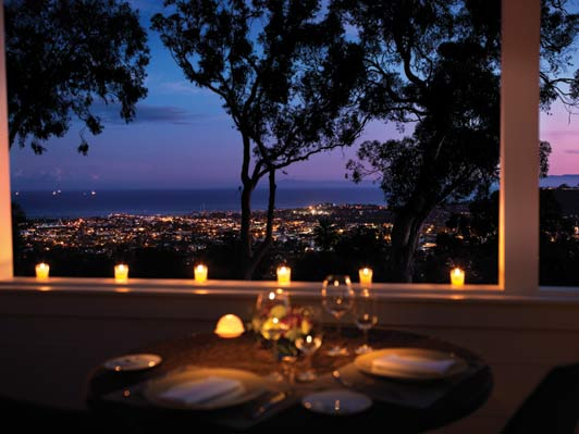 The most beautiful Santa Barbara hotel is also the best place to linger over a meal and a glass of wine.