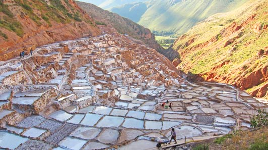 From Salineras Ranch, it's an easy ride to the salt ponds near Maras.