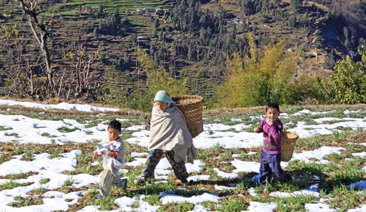 Villagers on the way to gather firewood at 360 Leti in the foothills of the Himalayas.
