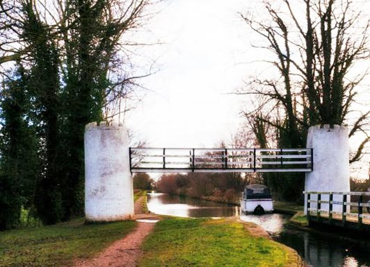 Footbridge over the Birmingham and Fazeley Canal near Drayton Bassett, West Midlands.