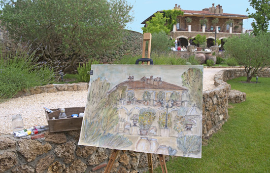 Art lessons are an option at this charming historic hotel in Tuscany.