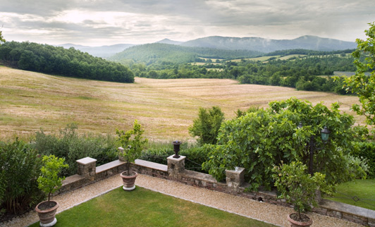 The panoramic view from this balcony is one of the reasons Borgo Santo Pietro just might be the best romantic hotel in Tuscany.