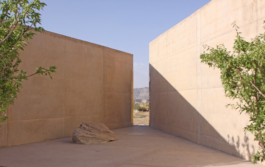 Amangiri's rectalinear design is in contrast to the natural shapes of the boulders that surround the resort.