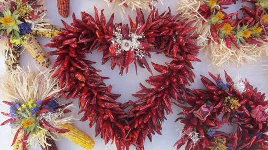 Chili - in wreaths and on strings - are a common site in New Mexico.