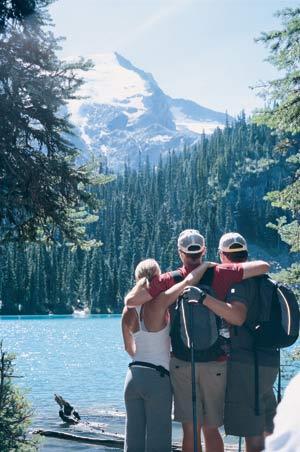 Family bonding along the shores of Joffre Lake near Whistler.