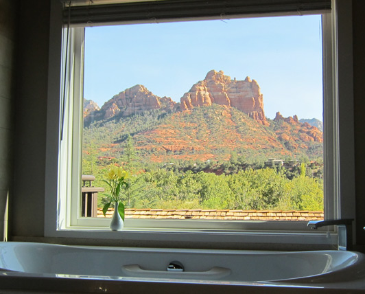 Sedona Arizona - A bathtub with a red rock view at L'Auberge de Sedona.