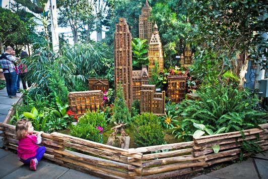 The popular Holiday Train Show includes 15 G-scale trains on a layout of NYC landmarks.