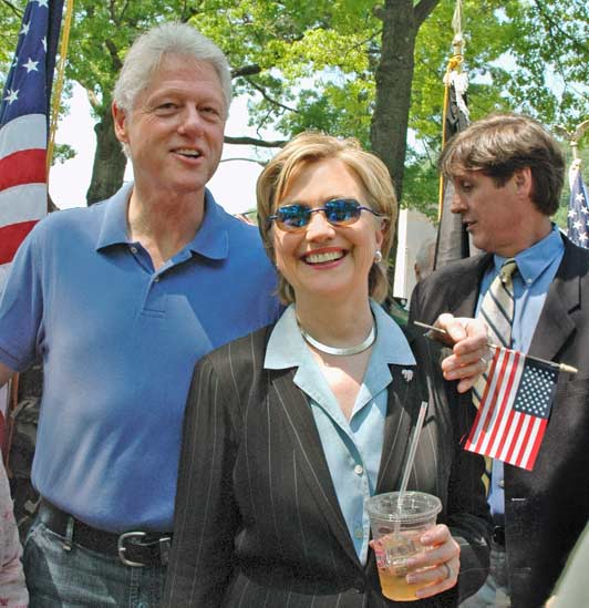 The Clintons seem to really enjoy being part of Chappaqua's holiday parades. Photo credit: Marianne Compolongo.