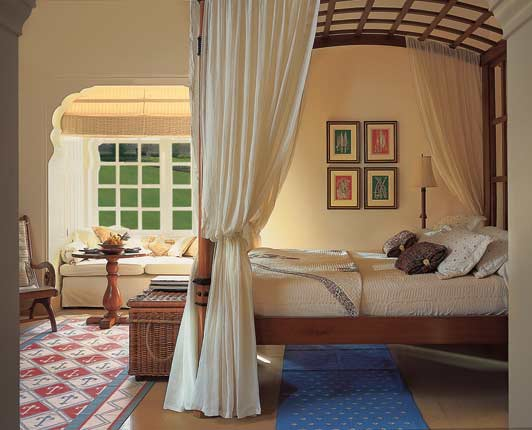 This is a premier room at the Oberoi Rajvilas in Jaipur, India.