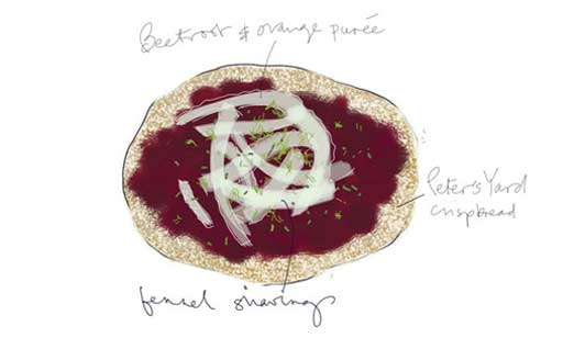 Peter's Yard in Edinburgh is known for their delicious flatbreads like this one made with beetroot, walnut and feta.