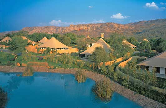 "The Oberoi Vanyavilas is a ""tented"" resort on the edge of Rathambore National Park."