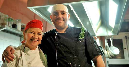 Florence cooking lessons: Sharon with her son THE CHEF.