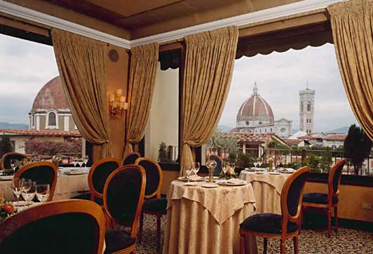 Authentic Florence: The elegant Terrazza Brunelleschi restaurant enjoys a great view of the Duomo. Photo credit: Art Moldavia.