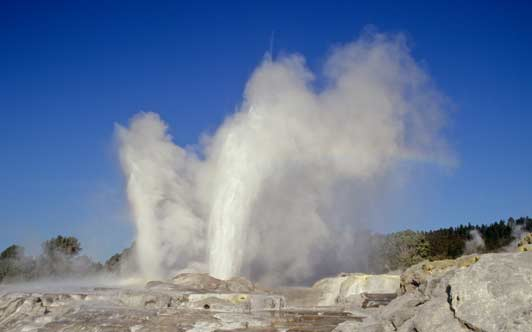 Best time of year to go to New Zealand: Rotorua thermal activity takes place year round.