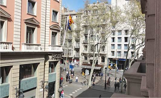 View of Las Ramblas from authentic Barcelona Hotel 1898.