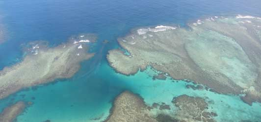 Turtle Island is surrounded by a sea of  beautiful aquamarine water.