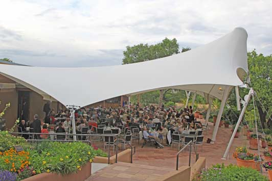 The Buffet Preview Dinner is served under a tetn at Santa Fe Opera.