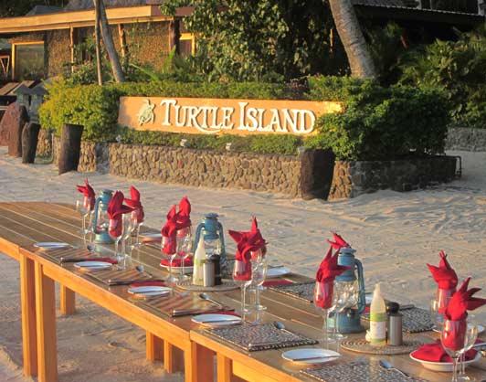 Dining on the sand, Turtle Island Resort, Fiji.