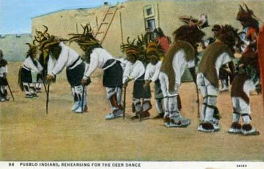 A Pueblo dance won't look much different today from the way it looks in the vintage postcards found in Santa Fe's antique shops.