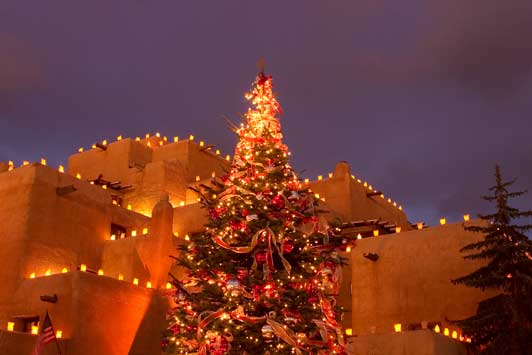 The holiday lighting at Inn and Spa at Loretto adds to the warm atmosphere of Christmas in Santa Fe. Photo Courtesy of the Inn and Spa at Loretto.