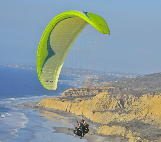 Meaning of life travel experience: floating over the sandstone cliffs in La Jolla, California.