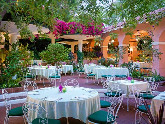 The Polo Lounge Patio is the perfect place for a romantic meal and cozy conversation.
