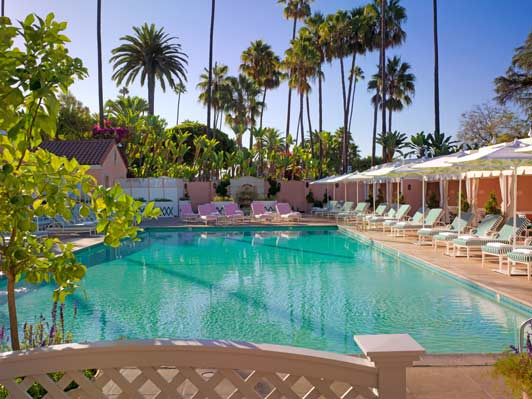 Romantic Los Angeles hotel - the '40's glam pool at The Beverly Hills Hotel.