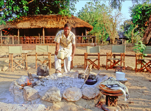 Our Zambia safari: Breakfast at the fire circle is a Chiawa Camp tradition.