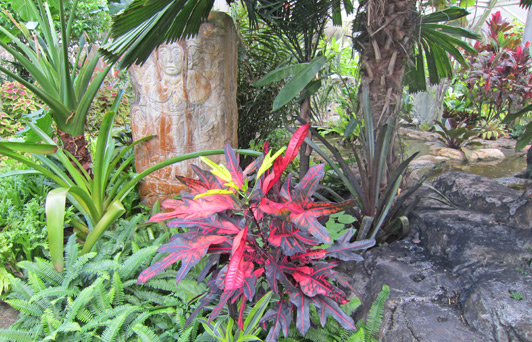 Tropical plants and Asian sculpture is artfully juxtaposed at The Botanical Gardens on Nevis.
