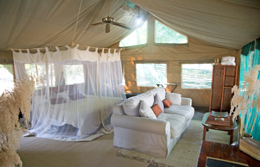 Best Zambia safari digs: This superior cabin at Chiawa Camp offers a view ofthe bush from bed and bath.