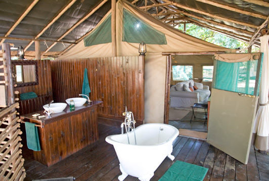 Zambia safari: Our bathtub at Chiawa Camp provided a view of wildlife on the bank of the Lower Zambezi.