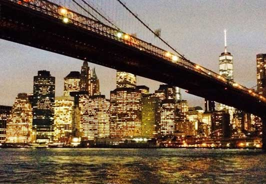 The Brooklyn Bridge and The Freedom Tower from Brooklyn Heights.