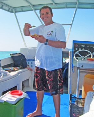 Our buddy Rene Mena of Chili Charters demonstrating the fine art of eating guacamole and chips.