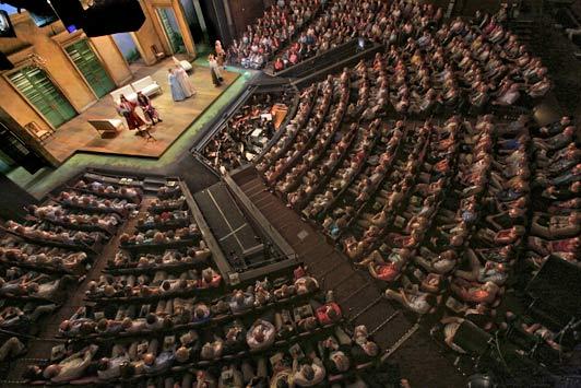 Overhead shot of a performance of Così fan tutte, 2012. Credit: Ken Howard, St Louis Opera Theatre.