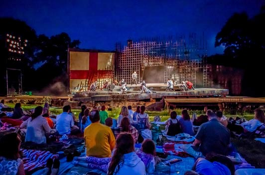 A scene from Shakespeare Festival St Louis' production in Forest Park last year.  Photo credit: J. David Levy.