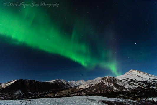 Aurora Borealis (Northern Lights) viewed from Anchorage over the Chugach Mountain Range, November 4, 2014. Credit: Victoria Lynn Pennick.